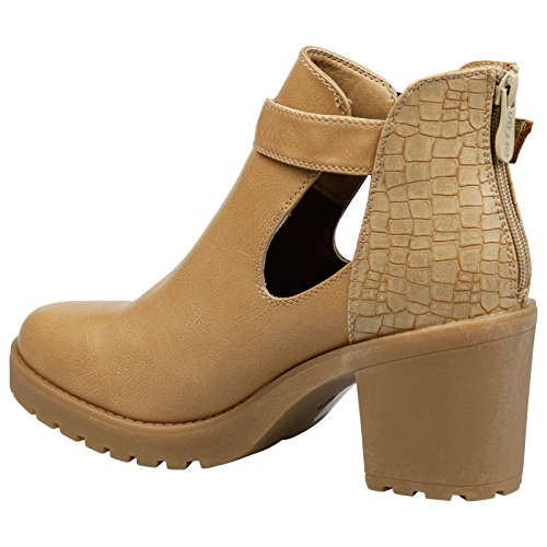 Fashion Beige Block Feet Heel Madeleine Tan Thick Womens Out Leather Cut First Faux Mid Ankle Boots 5xwqB7wnHY