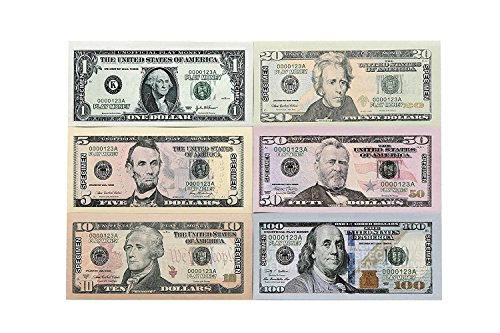 $9300 in Play Money – Pretend Dollar Bills – Realistic Money Stack – That Look Real – Small Bills (5 X 2.5 Inches) – 50 of each Amount – 300 Bills Total