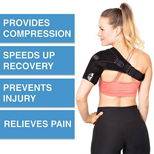 Shoulder Brace for Women and Men - Left Right Shoulder Support Brace for Rotator Cuff AC Joint Dislocated Shoulder - Adjustable Neoprene Shoulder Brace - Compression Shoulder Sleeve by Supportex (Image #1)
