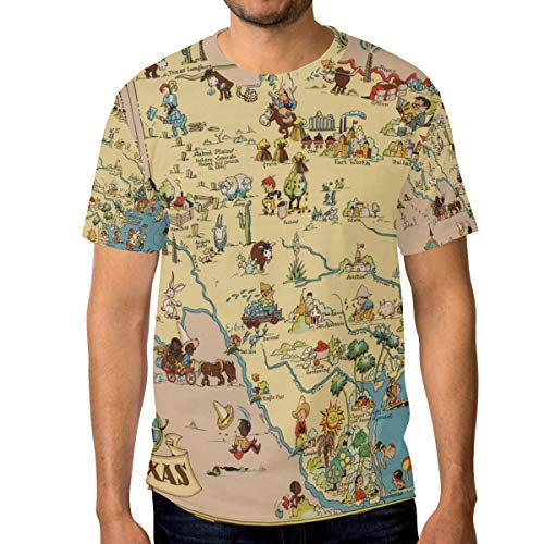 (T Shirt for Men Boys Texas State Map Cartoon Pattern Custom Short Sleeve)