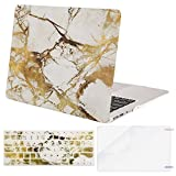 MOSISO MacBook Air 13 Inch Case (Release 2010-2017 Older Version), Plastic Pattern Hard Case & Keyboard Cover & Screen Protector Only Compatible MacBook Air 13 (A1369 & A1466), White & Gold Marble