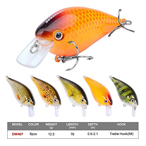 (Proberos Crankbaits Set Lure Fishing Hard Baits Swimbaits Boat Ocean Topwater Lures Kit Fishing Tackle Hard Baits Set for Trout Bass Perch Fishing Lures Set (407))