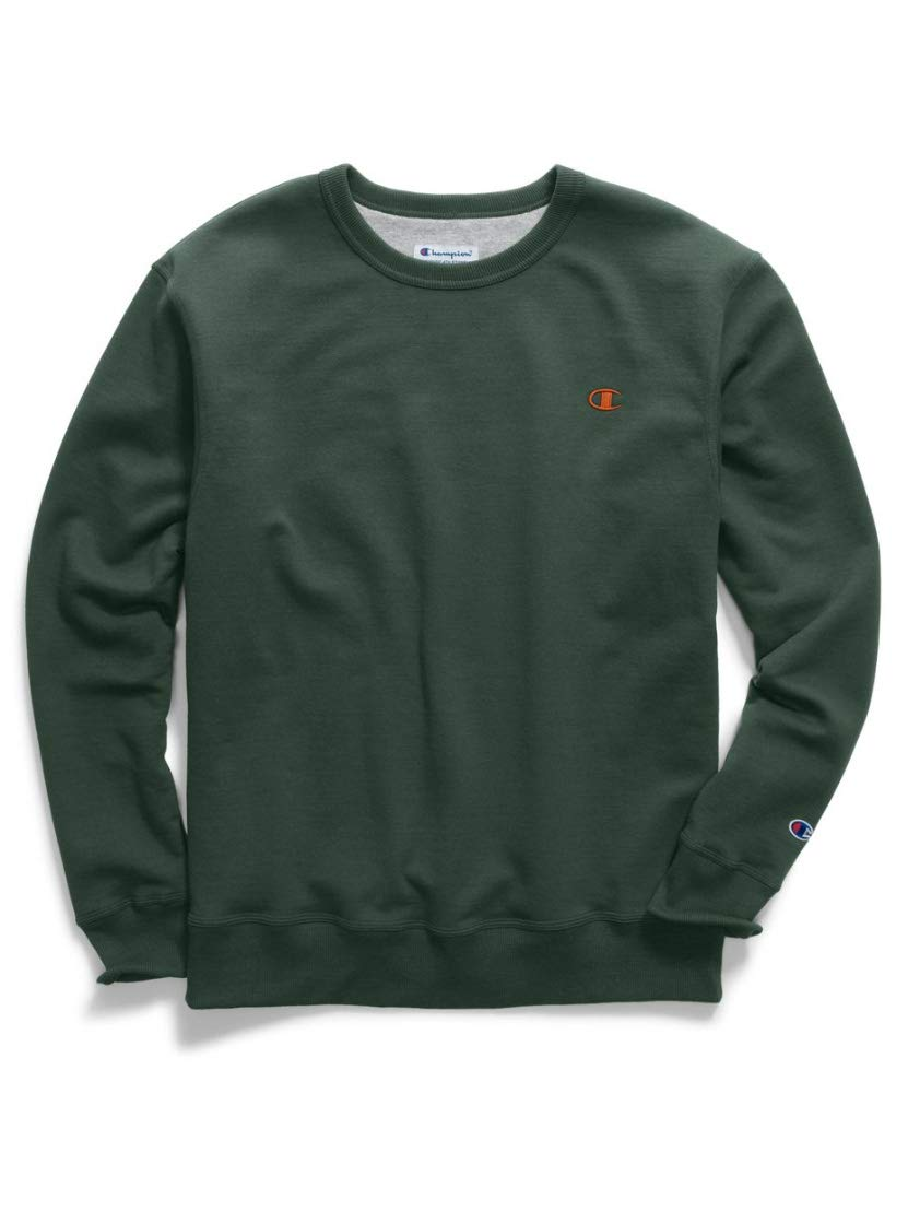 Champion Men's Powerblend Fleece Crew, Dark Green/Orange, Small by Champion (Image #1)