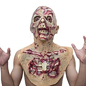 Molezu Scary Walking Dead Zombie Head Mask Latex Creepy Halloween Costume Party Cosplay Horror Bloody Props Adult