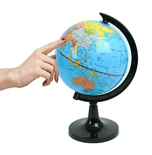 Political World Globe, Office & School Desktop Stand, Easy Rotating Swivel, 9'' Tall. By Mega Stationers