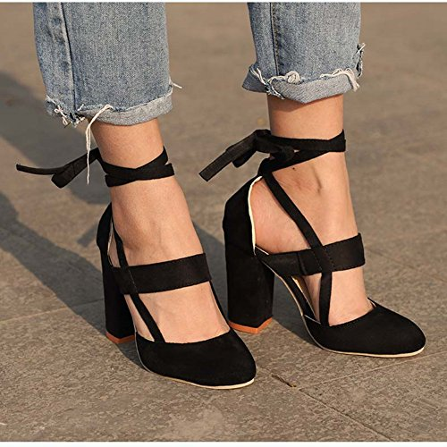 426acefed5e7 chegong Women s Fashion Thick High Heel Pumps Closed Toe Straps Platform  Sandals