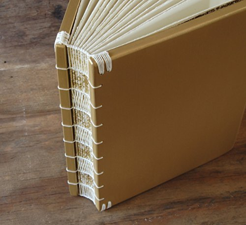 Gold Maple Wood Wedding Guest Book or Handmade Journal by Three Trees Bindery