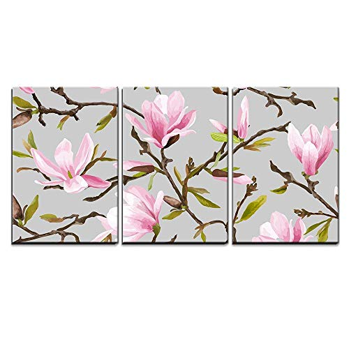 - wall26 - 3 Piece Canvas Wall Art - Vector - Seamless Floral Pattern. Magnolia Flowers and Leaves Background. Exotic Flower - Modern Home Decor Stretched and Framed Ready to Hang - 24