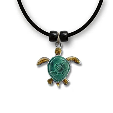 Amazon hawaiian green sea turtle necklace pendant jewelry hawaiian green sea turtle necklace pendant jewelry enamel colors hand painted in usa mozeypictures Choice Image