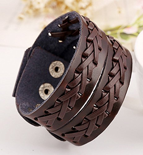 Two Row Multi Stagger Braided Hand Making Weaving Leather Button Adjustable Length Ancient Style Brown