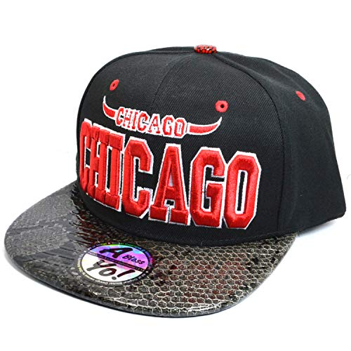 CHICAGO 3D Embroidered Flat Snapback Twill Bill Cap Hiphop Baseball Hat AYO1040 (RED / BLACK)