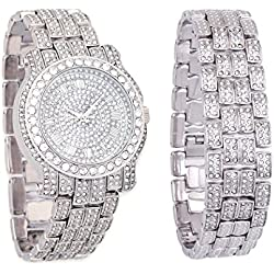 Silver Iced Out Pave Watch & Matching Bracelet Bling Gift Set