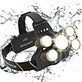 MsForce Rechargeable Headlamp. 5 Ultra Bright LED Head Lamp, Two 18650 USB Rechargeable Batteries Included. 4 Work Modes Head Flashlight for Camping, Fishing and for Hard Hat Workers