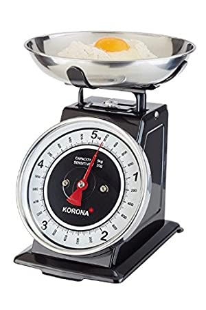 Korona TOM Mechanical kitchen scale Negro, Acero inoxidable, Blanco Mesa - Báscula de cocina