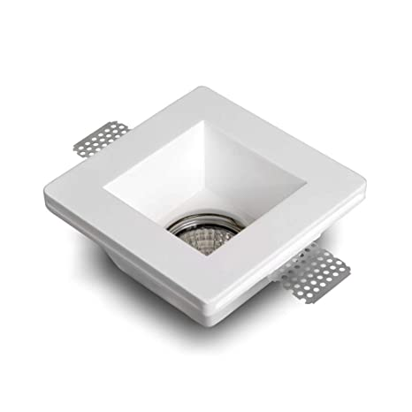 Eurekaled - Soporte cuadrado de escayola cerámica para foco empotrado en falsos techos, GU10,