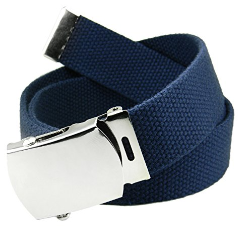 Classic Silver Men's Military Slider Buckle with Canvas Web Belt X-Large Navy Blue