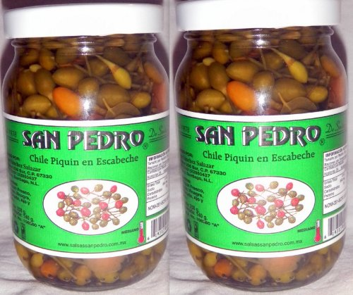 San Pedro Chile Piquin Del Monte En Escabeche Hot & Spicy Pepper From Mexico 2 Bottle Lot