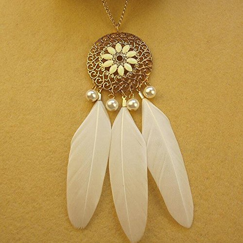 A&C Fashion Bohemia White Peacock Feather Pendant Necklace Jewelry for Women, Hot Sell Indiana Feather Torque for Girls. hot sale