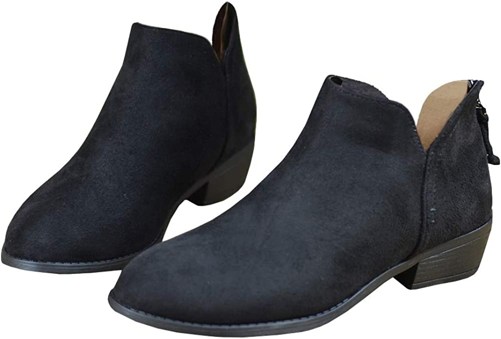 Womens Western Cutout Booties Ankle Boots Chunky Low Heel Almond Toe Stacked Zip Boots