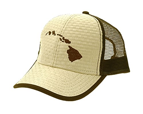 Wicker Island Man (Route 99 Hawaii Lauhala Straw Cap Hawaiian Islands, brown)