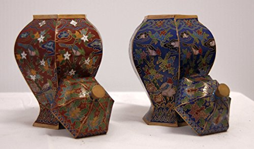 Cloisonne Flower Flora Bird Vase, 6 inches tall X 3 inches in diameter (Pair of Red and Blue) by Feng Shui Master (Image #1)'