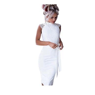 f6dadaa59a0 Longra Robe Cocktail Femme Slim Fit Robe Dentelle Femme Sans manches Robe  Femme Moulante Robe Femme Sexy Robe Femme Chic Soiree Robe Casual Robe  Soirée Robe ...