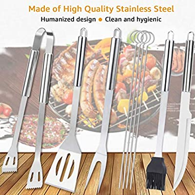 KUBEST 9 Piece Barbecue Tools Set for BBQ Grill Outdoor Picnic Made of Stainless Steel with Storage Case, Spatula, Tongs, Skewers, Forks,Knife and Basting Brush