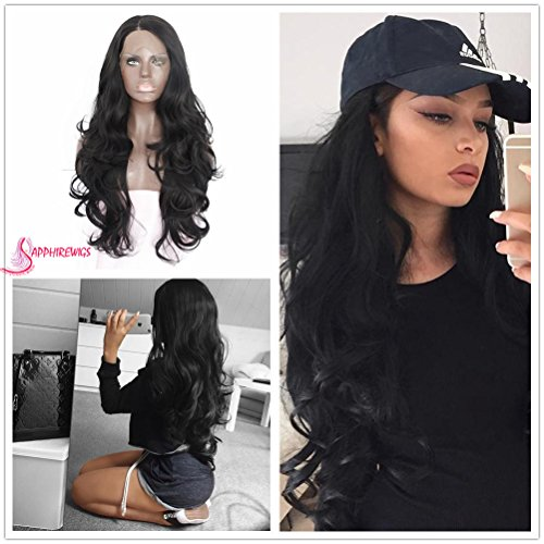 Summer 24'' Black Body Wavy Glueless Big Lace Part Cosplay Masquerade Party Synthetic Lace Front Wig For (Super Cheap Costume Wigs)