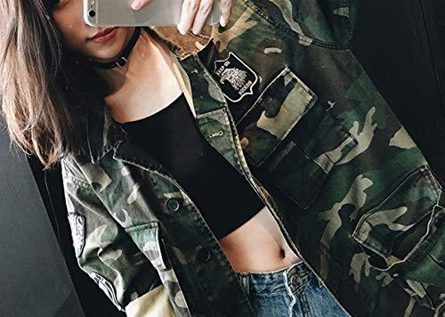 denim manica autunno ricamo a sezione Foto in CWJ M colori Giacca bf donna camouflage denim in lunga giacca paio lunga allentata Egx4wzq