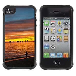 Suave TPU GEL Carcasa Funda Silicona Blando Estuche Caso de protección (para) Apple Iphone 4 / 4S / CECELL Phone case / / Sunset Sea Beautiful Nature 13 /