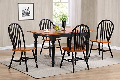 Sunset Trading 5 Piece Butterfly Leaf Dining Table Set with Arrowback Chairs, Antique Black Cherry