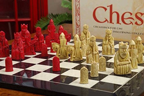 The Red Isle of Lewis Antiqued Chess Pieces - Lewis Chess Pieces