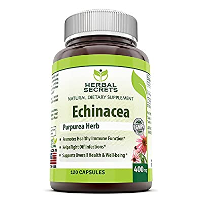 Herbal Secrets Echinacea Supplement – 400 mg Capsules Made from 100% Pure Echinacea Purpurea Root and Plant Extract Powder – Supports Healthy Immune Function and overall Well-being - Capsules Can Be Opened to Prepare Tea - 120 Capsules Per Bottle