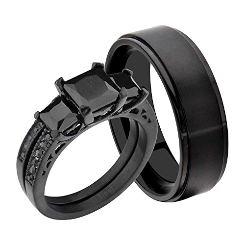 FlameReflection Stainless Steel Black Princess Cubic Zirconia His And Hers Wedding Ring Sets Titanium Men Band ()