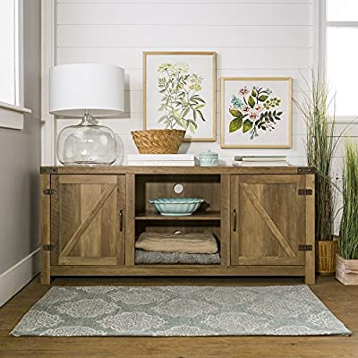 Home Accent Furnishings New 58 Inch Barn Door Television Stand (Rustic Oak, 58 Inch) - High grade MDF and laminate construction Weight capacity of 250 lbs. Open and concealed storage - tv-stands, living-room-furniture, living-room - 51fBA33 1RL. SS400  -