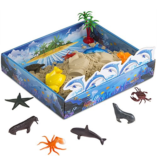 Cool Sand 3D Sand Box – Kinetic Play Sand For All Ages – Includes: 10 Shaping Molds, 12 Sea Figures, 1 lb. of Cool Sand and 3D Tray - Sea Creatures Edition