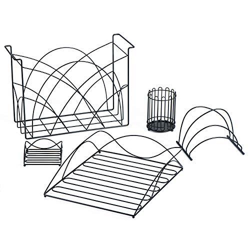 SRIWATANA Office Supplies Metal Black Desk Organizer Set 5 in 1 Desk Accessories Include Hanging File Organizer, Letter Tray, Pen Holder, Sticky Note Holder, Envelope Sorter
