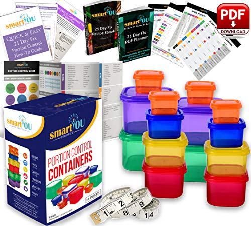 Portion Control Containers - 21 Day Portion Control Containers Kit - Nutrition Diet, Multi-Color Coded Weight Loss System. Complete Guide + PDF Planner + Recipe eBook and Tape Measure - BPA Free - 14 PC