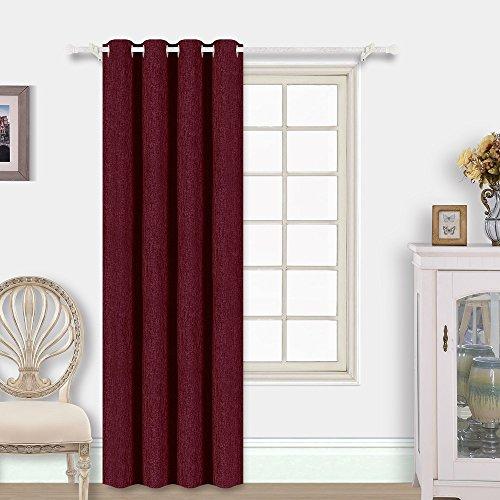 Best Dreamcity Faux Linen Insulated Blackout Grommet Top Room Darkening Curtain Drape, Single Panel, W52