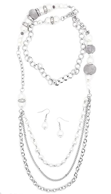 f75e8743f34e Amazon.com  Paparazzi Enmeshed in Elegance White Necklace and ...