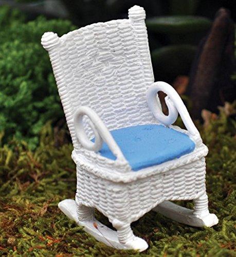 Wicker Rocking Chair White/Blue Fiddlehead Fairy Garden - Wicker Dollhouse Furniture