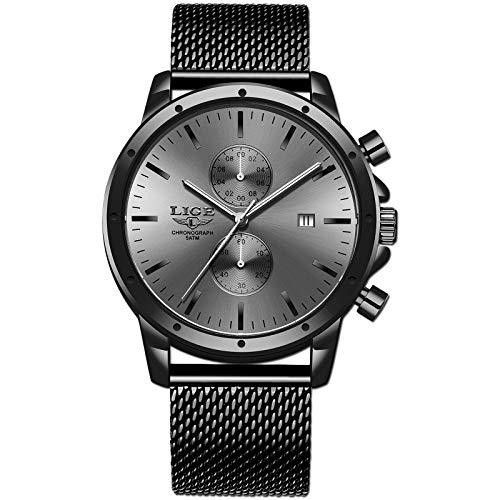 🥇 LIGE Hombre Relojes Clásico Negro Analógico Cuarzo Esfera Grande Reloj Hombres Acero Inoxidable Impermeable Multifunción Malla Relojes