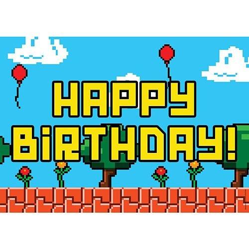 idealWigsNet Cartel de Feliz cumpleaños del Videojuego - A3 ...
