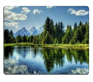 Lake Scenery with Trees and Snowy Mountain Mouse Pads Customized Made to Order Support Ready 9 7/8 Inch (250mm) X 7 7/8 Inch (200mm) X 1/16 Inch (2mm) High Quality Eco Friendly Cloth with Neoprene Rubber MSD Mouse Pad Desktop Mousepad Laptop Mousepads Comfortable Computer Mouse Mat Cute Gaming Mouse_pad