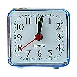 squarex Square Small Bed Compact Travel Quartz Beep Alarm Clock Cute Portable (Blue)