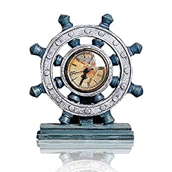 Lependor Wheel Wall Clock Decoration Nautical Anchor Boat Steering Wheel Time Clock Table Decor Crafts Rudder Desk Clock - Blue