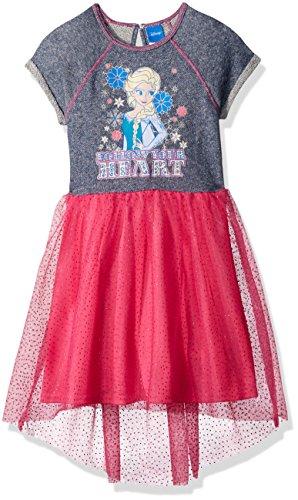 Disney Little Girls' Follow Frozen Elsa Heart Dress, Denim Blue, 5