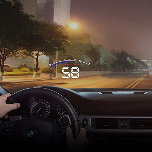 Trainshow Car Hud Head Up Display 3.5 inch Large Screen with OBD II System KM/h MPH RPM Speeding Warning