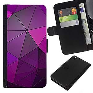 KLONGSHOP // Tirón de la caja Cartera de cuero con ranuras para tarjetas - Vidrio reflectante púrpura polígono Líneas - HTC DESIRE 816 //