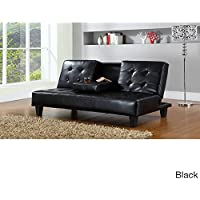 Hodedah PU Upholstered, Armless, Click Clack Sofa Bed with Drop-down Cupholder in Black